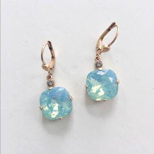 Anthropologie earrings drop aquamarine in color